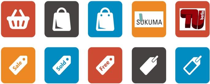 Konsum-Icons in einer Reihe.