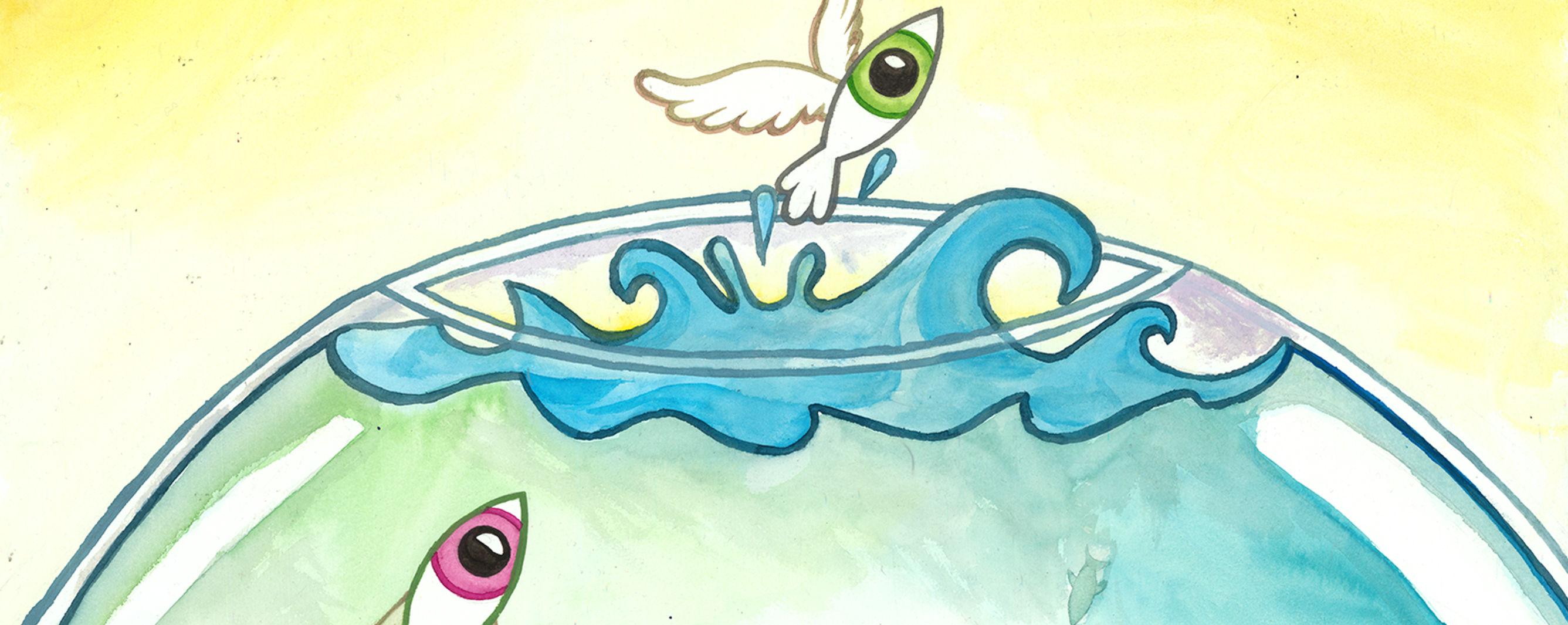 Fisch springt aus Aquarium