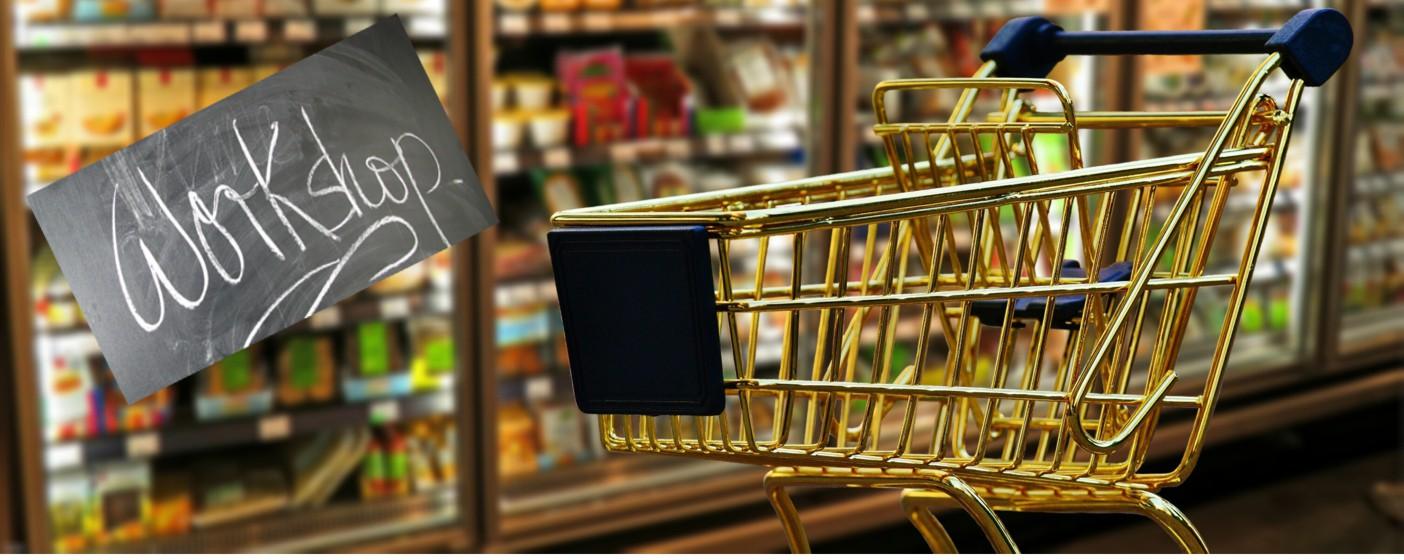 Ein Einkaufswagen im Supermarkt.