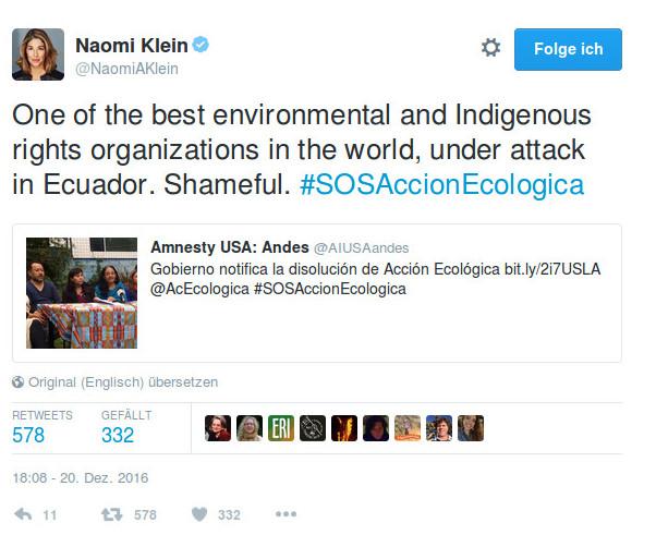 Twitterbild von Naomi Klein (bekannte Globalisierungskritikerin)