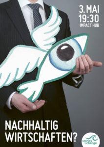Auf dem Plakat ist ein Geschäftsmann mit einem Pappfisch in der Hand zu sehen.