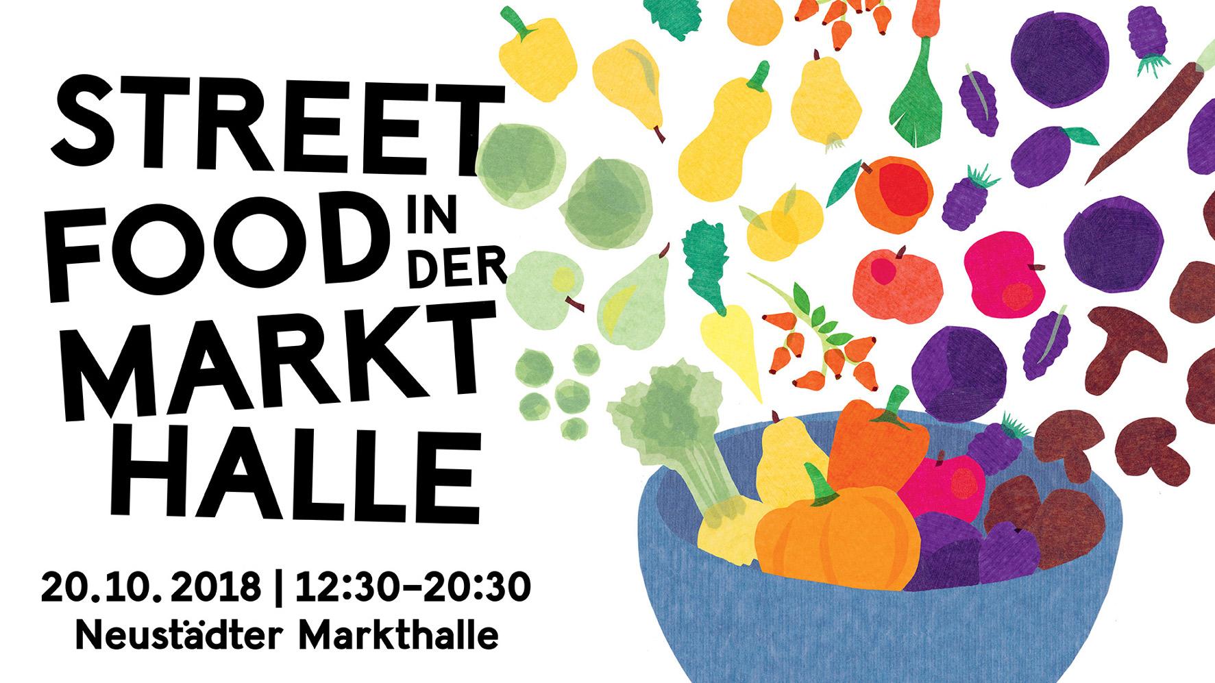 Auf dem Werbeplakat des SFM ist eine Schüssel mit Obst und Gemüse zu sehen.